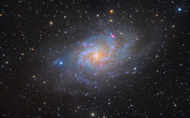 4 pane mosaic of messier 33. NGC598. Triangulum Galaxy. Driehoek nevel. 15.8 hrs total exposure. ODK10, QHY168c, Mesu 200