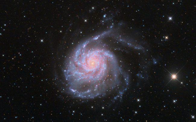 M101 pinwheel galaxy, combined Dutch data: TEC140, QHY600c, 540 min. with French data: ODK10, QHY168c, 360 min.