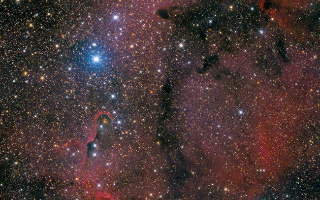Elephant Trunk Nebula and surroundings, ODK10, QHY168c, Mesu200 12 hrs exposure time, 6 pane mosaic.