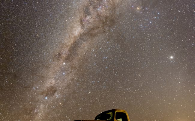 Shot at Canyon Roadhouse lodges near Fish River Canyon, Namibia. 7 x 30 seconds composite. 3200 iso. Nikon D810a and a 14-24 mm. f2.8 widefield lens.