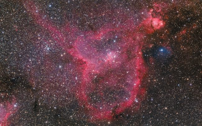 Heart Nebula IC1805. Takahashi FSQ106, QHY367. 4 hours exposure.